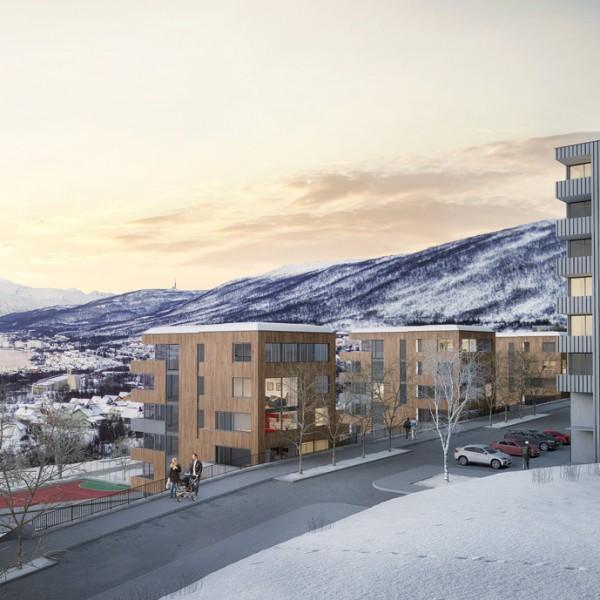 Utsikt fra planområdet. Ser mot Tromsøysund