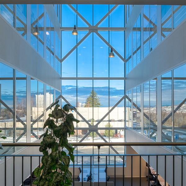 utsikt nordover fra atrium