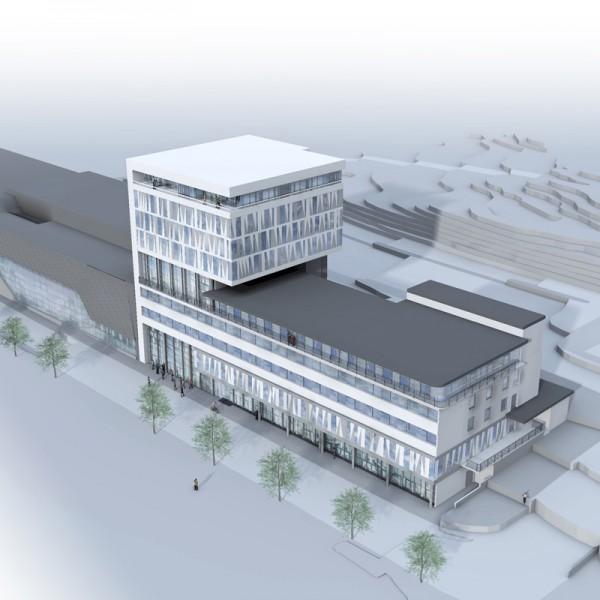 Illustrasjon-sett-mot-sørøst-med-kulur-og-badeanlegg-samt-nybygg-hotell